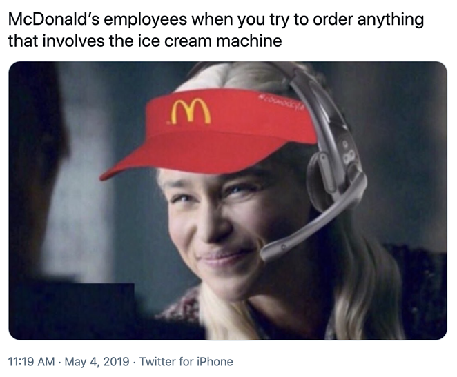 The ice cream machine issues at McDonald's are widely known. - TWITTER / AUBNICS