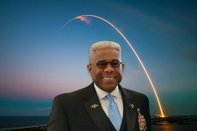West outlined his plans to launch portions of Texas into space at a recent meeting of the Poteet chapter of the International Flat Earth Society. - PHOTO MANIPULATION OF IMAGES FROM FACEBOOK / ALLEN WEST AND UNSPLASH / SPACEX