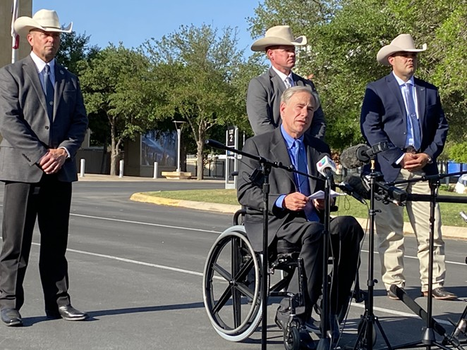 Gov. Greg Abbott appears during his recent news conference in front of Freeman Coliseum. - SANFORD NOWLIN