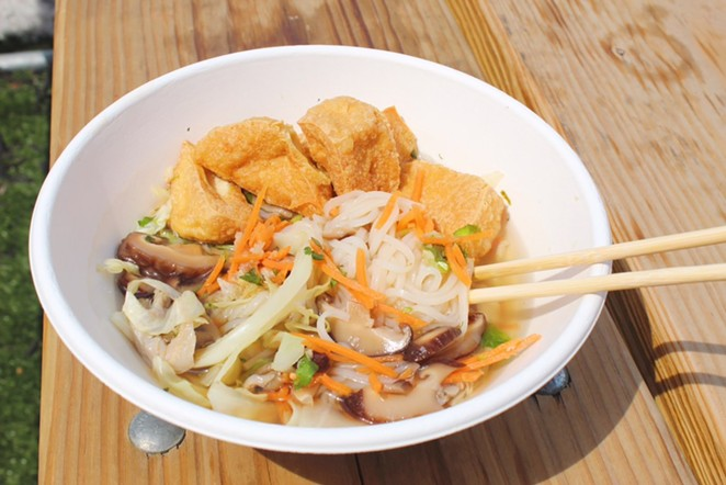 HP's new vegan option features veggie broth, tofu, mushrooms, carrots and cabbage. - PHOTO COURTESY HELLO PARADISE
