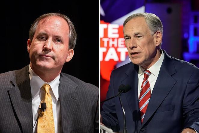 Attorney General Ken Paxton, left, and Gov. Greg Abbott. Credit: - THE TEXAS TRIBUNE
