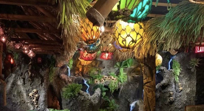 Hugman's Oasis features a lush interior with tiki-centric details. - INSTAGRAM / THETIKIROOMTX