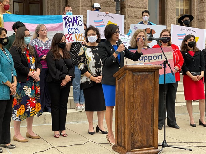 LGBTQ+ advocates speak out against bills targeting transgender children at late-April rally at the Texas Capitol. - FACEBOOK / EQUALITY TEXAS