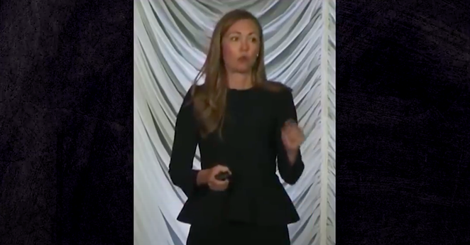Jessica Anderson, executive director of Heritage Action for America, speaks in a video that purportedly shows her addressing big donors about the group's efforts to write voter-restriction bills in state legislatures. - YOUTUBE / MOTHER JONES