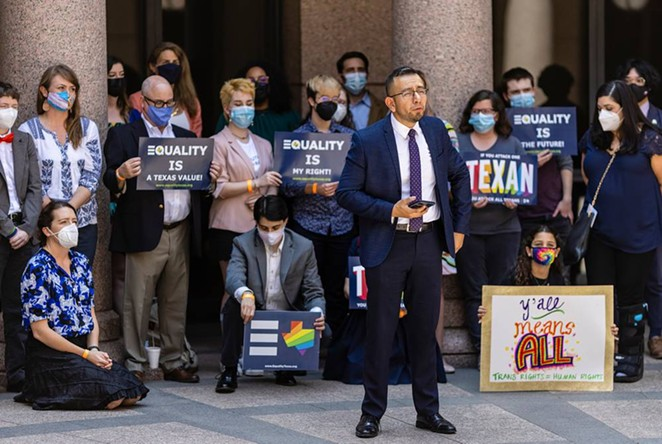 Equality Texas CEO Ricardo Martinez speaks in support of transgender rights at the Texas Capitol on April 12. Texas is one of several states whose legislatures have pushed bills limiting transgender people's sports participation health care options. - TEXAS TRIBUNE / JORDAN VONDERHAAR