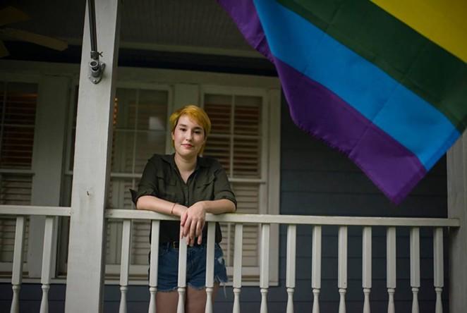 Indigo Giles at their Houston home on Sunday. - TEXAS TRIBUNE / MARK FELIX