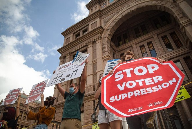 Protesters rally in opposition of Senate Bill 7 at the Texas Capitol. - TEXAS TRIBUNE / EVAN L'ROY