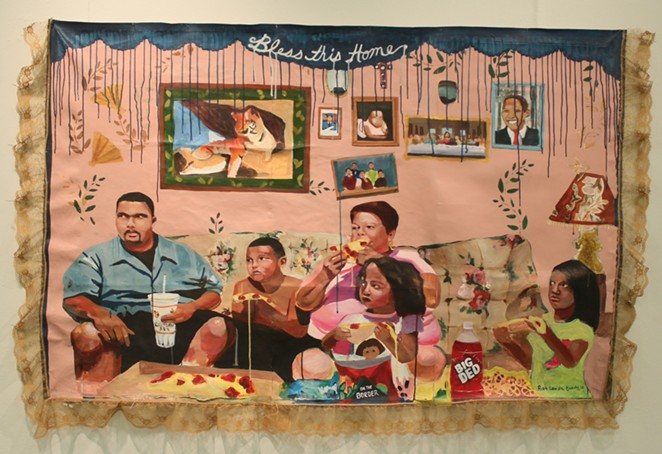 """Ruth Leonela Buentello, The Last Supper, 2017, Acrylic on canvas, with lace trim, 42 x 64"""", Courtesy of the artist - COURTESY OF BLUE STAR CONTEMPORARY"""
