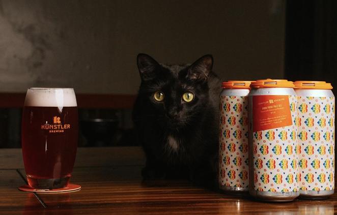 Künstler's new Puro Pride Pale Ale (and brewery cat, Kung Fu). - INSTAGRAM / KUENSTLERBREW