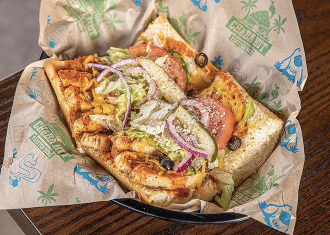 Cheba Hut's Jamaican Red sandwich features spicy chicken breast, green peppers, jalapeño, black olives and cheddar cheese. - INSTAGRAM / CHEBAHUT