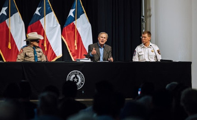 Gov. Greg Abbott speaks at the recent South Texas press conference where he pledged to restart Trump's border wall. - TEXAS GOVERNOR'S OFFICE