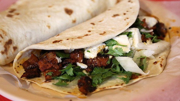 The Taco Callejero at Matehuala Cafe #2 is the perfect marriage of pastor and chorizo. - BEN OLIVO