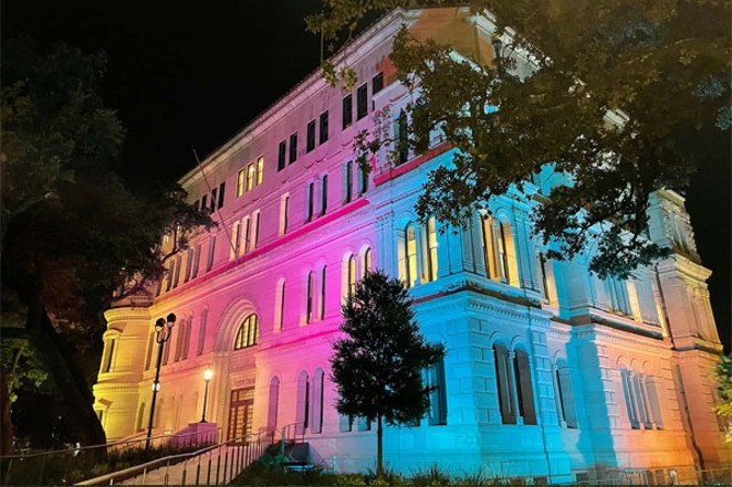 The San Antonio City Hall is decked out in rainbow colors in recognition of Pride Month. - FACEBOOK / MAYOR RON NIRENBERG