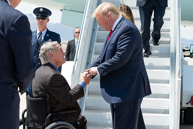 Gov. Greg Abbott greets Donald Trump during one of the president's 2019 Texas visits. - WIKIMEDIA COMMONS / THE WHITE HOUSE