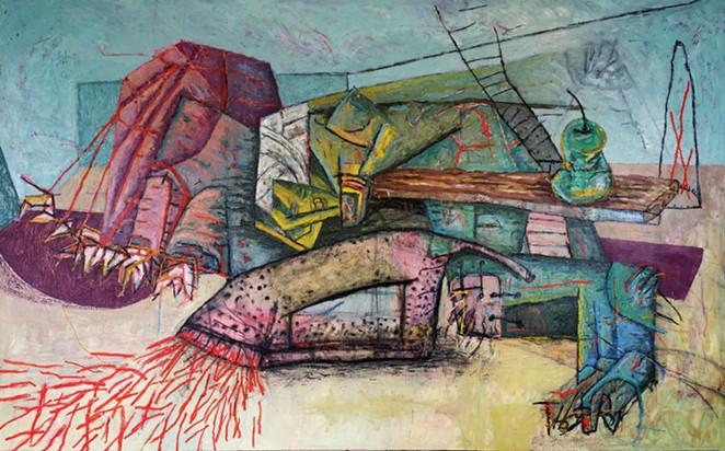 John Guzman, Pleasure and Punishment, 2021, oil on canvas, 96 x 60  in. - COURTESY OF PRESA HOUSE GALLERY