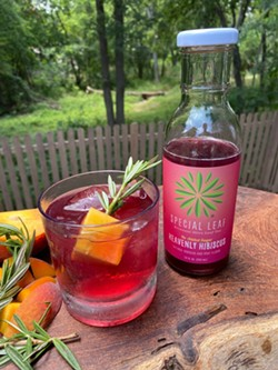 Chef Chris Cook's Hill Country Hibiscus Peach Smash is a great option for a summer splash sans alcohol. - COURTESY SPECIAL LEAF