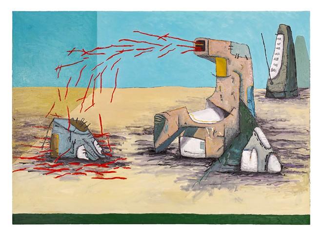 Guzman's painting Rinse, wash, repeat. - JENELLE ESPARZA