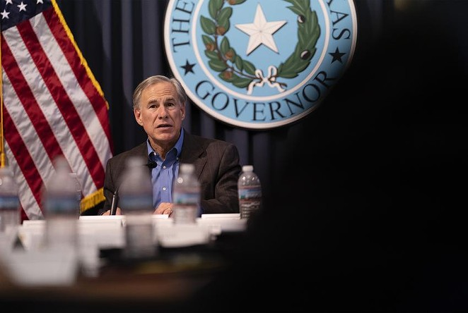 Gov. Greg Abbott hosted a briefing at the Texas Capitol earlier this month with sheriffs from border communities. - TEXAS TRIBUNE / SOPHIE PARK