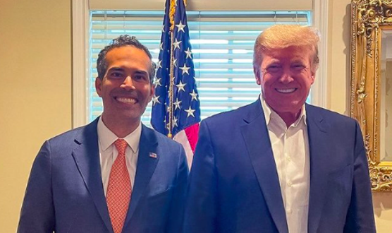 Texas Land Commissioner George P. Bush (left) poses with Donald Trump during his visit to the former president's New Jersey golf club. - TWITTER / @GEORGEPBUSH