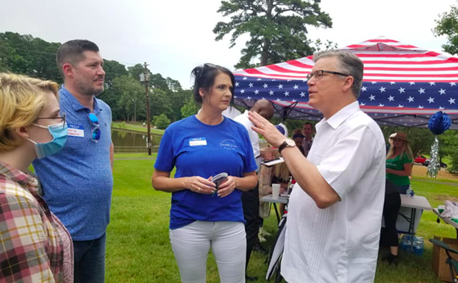 Former Galveston mayor Joe Jaworski (right) speaks to potential supporters at an event. - FACEBOOK / JOE JAWORSKI FOR TEXAS ATTORNEY GENERAL