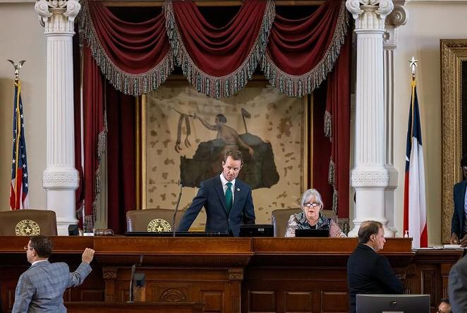 House Speaker Dade Phelan on the House floor on Monday. - TEXAS TRIBUNE / JORDAN VONDERHAAR