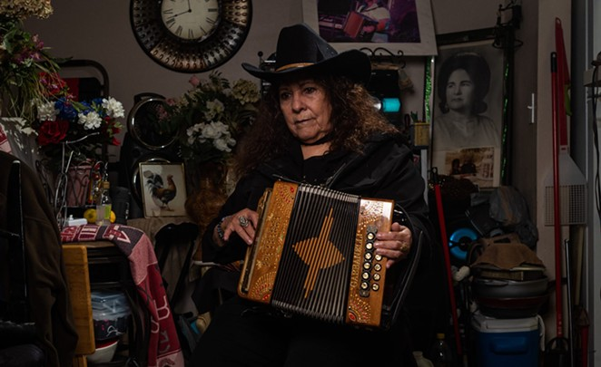 San Antonio: Eva Ybarra, the Accordion Queen, poses for a portrait. After years without broad recognition, she is finally getting her due. - TEXAS OBSERVER / IVAN ARMANDO FLORES