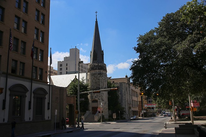 Downtown San Antonio's Travis Park Church will on September 21 unveil plans for a massive mural featuring local artists. - FLICKR / PAUL SABLEMAN