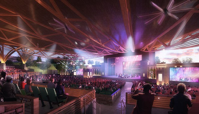 An artist's rendering of a concert being staged at the renovated Sunken Garden Theater, which will include a timber-frame roof. - COURTESY IMAGE / OJT ARCHITECTS