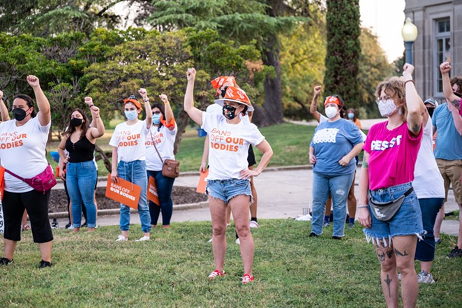 Women lead a San Antonio protest earlier this month against Texas' restrictive new abortion law. - JAIME MONZON