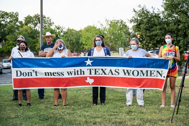 Pro-choice protesters gather in San Antonio earlier this month following the passage of Texas' restrictive new abortion law. - JAIME MONZON