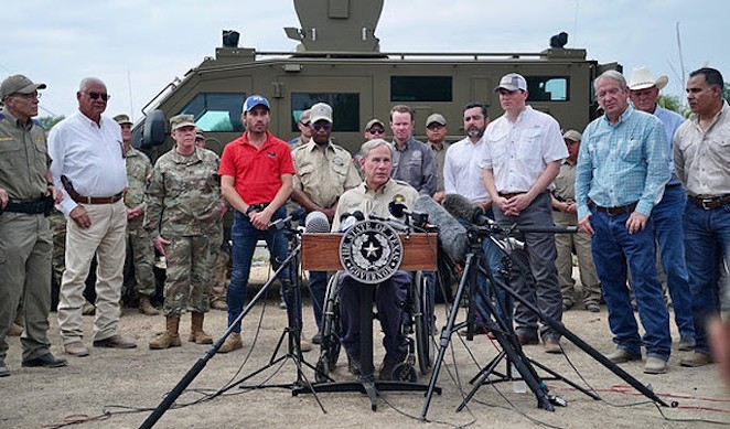 Gov. Greg Abbott speaks during a border press conference earlier this month. - COURTESY PHOTO / OFFICE OF THE GOVERNOR