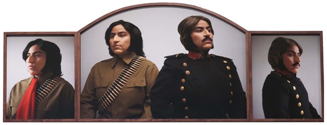 Mari Hernandez jabs at Texas history in her staged self portrait Pitted Brother Against Brother. - COURTESY IMAGE / MARI HERNANDEZ