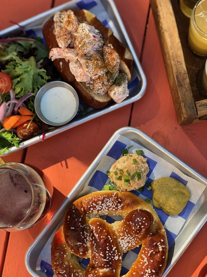 Don't skip Künstler Brewing's fried Brussels sprouts, shrimp roll, pretzels or potato salad. - NINA RANGEL