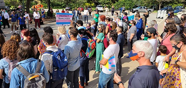 Some 300 Texans turned out to oppose HB 25 over the weekend. - TWITTER / @EQUALITYTEXAS