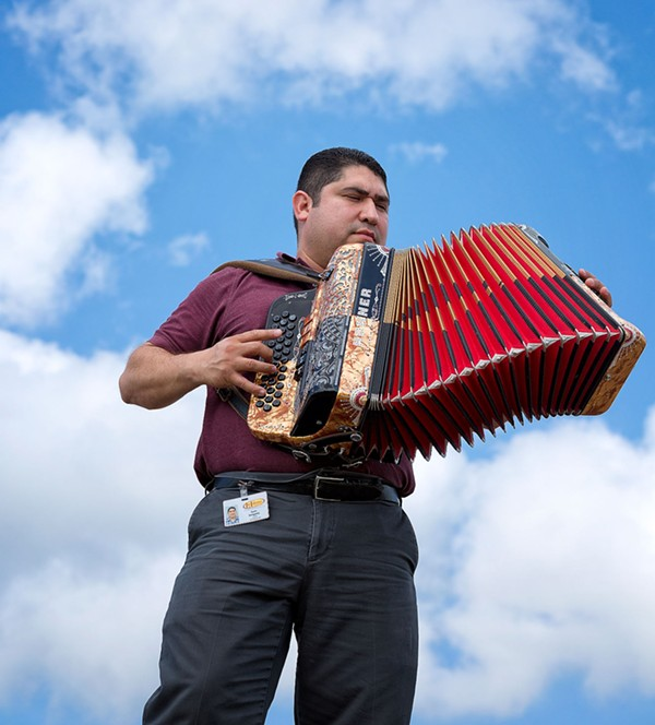 "Agarita's latest collaborative performance fetaures Joel Salcido and Oscar Cásares' ""Postcards from the Border"" project. - JOEL SALCIDO"