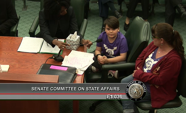"Elementary school student Marilyn said Senate Bill 6 would be ""horrifying"" for herself and her trans friends. - TEXAS SENATE ARCHIVES"