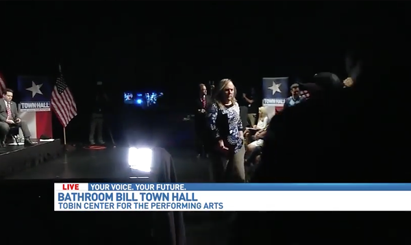 Local trans activist Lauryn Farris lead a walkout during WOAI's town hall on SB 6