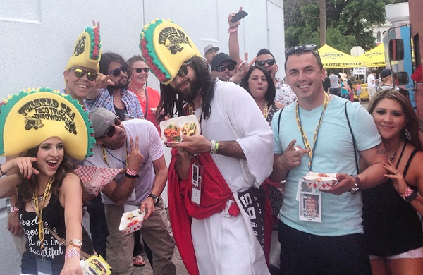 Judge Spurs Jesus surrounded by taco fans -  FACEBOOK/ TWISTED TACO TRUCK THROWDOWN