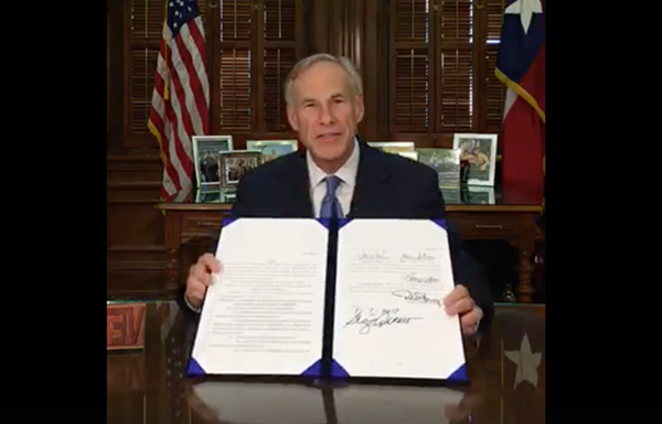 Gov. Abbott signed the bill into law behind closed doors earlier this month