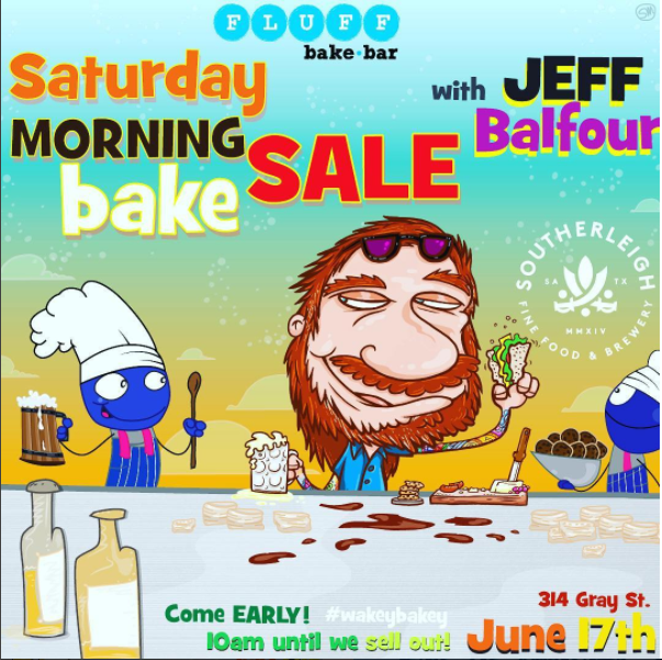 Balfour, pictured above, in advance of #wakeybakey event. - COURTESY OF FLUFF BAKE BAR