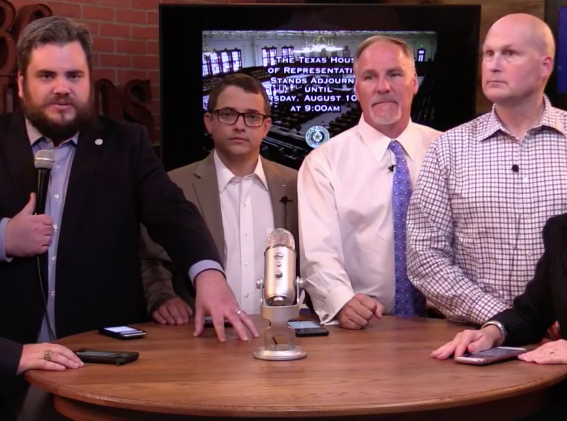Far-right Representatives Jonathan Stickland, Briscoe Cain, Kyle Bierfermann and Tony Tinderholdt tear House Speaker Joe Straus a new one on Facebook live. - FACEBOOK, EMPOWER TEXANS
