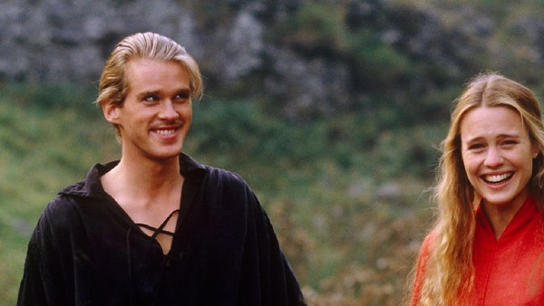 Elwes and Wright sharing a laugh on the the set of The Princess Bride. - TWENTIETH CENTURY FOX