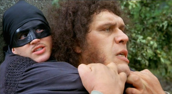 The Man in Black (Elwes) fights Fezzik (André the Giant) sportsmanlike - skill against skill alone. - TWENTIETH CENTURY FOX
