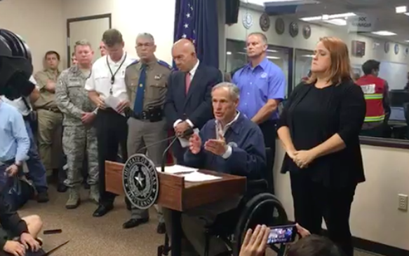 Gov. Abbott updates reporters on Hurricane Harvey in Austin Friday. - TEXAS TRIBUNE, SCREENSHOT VIA FACEBOOK LIVE