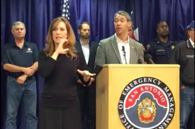 Mayor Ron Nirenberg addresses reporters at Sunday press conference. - CITY OF SAN ANTONIO VIA FACEBOOK