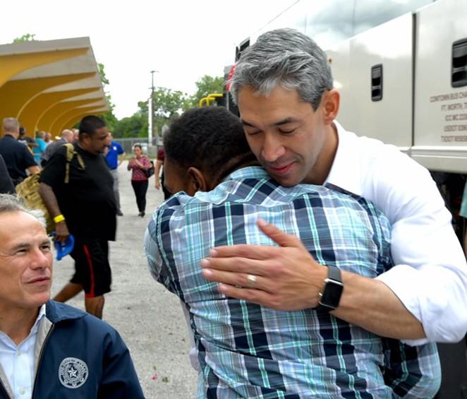 Mayor Ron Nirenberg hugs a Hurricane Harvey evacuee on Saturday. - FACEBOOK VIA MAYOR RON NIRENBERG