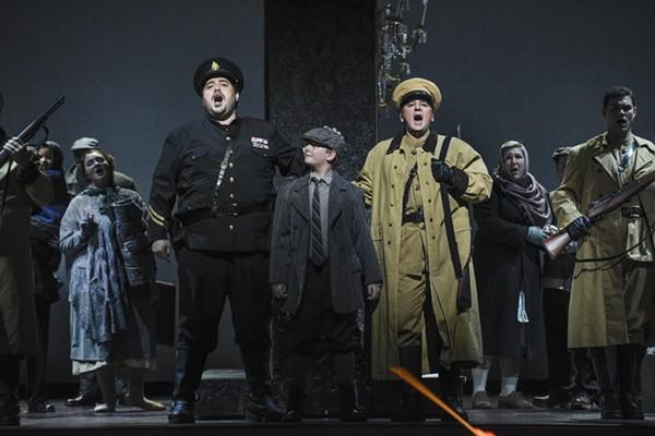 Eric Barry as Macduff, Wyatt Larsh as Fleanzio, and Tim Birt as Malcolm