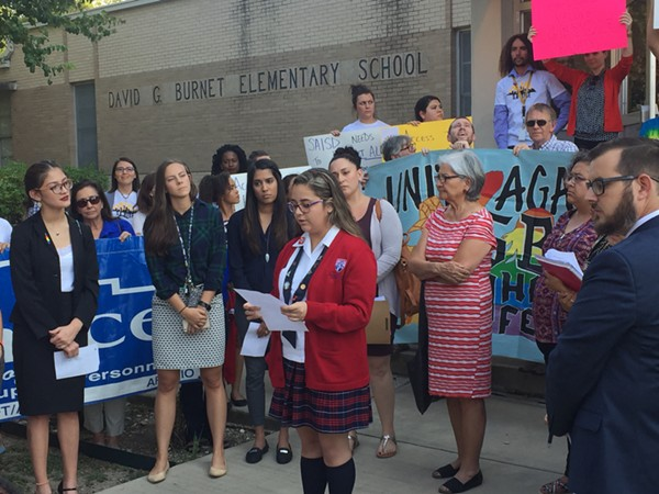 A SAISD speaks out in support of DACA and LGBT students before Monday night's board meeting. - ALEX ZIELINSKI