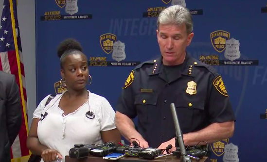 Adrienne House joined Chief McManus at the Wednesday press conference. - FACEBOOK LIVE SCREENSHOT VIA KENS5