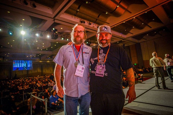 Freetail's head brewer Jason Davis (left) and owner Scott Metzger during 2017's Great American Beer Festival awards ceremony - PHOTO © BREWERS ASSOCIATION